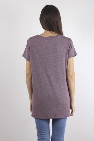 Ribbed tee shirt in Burgundy, back.