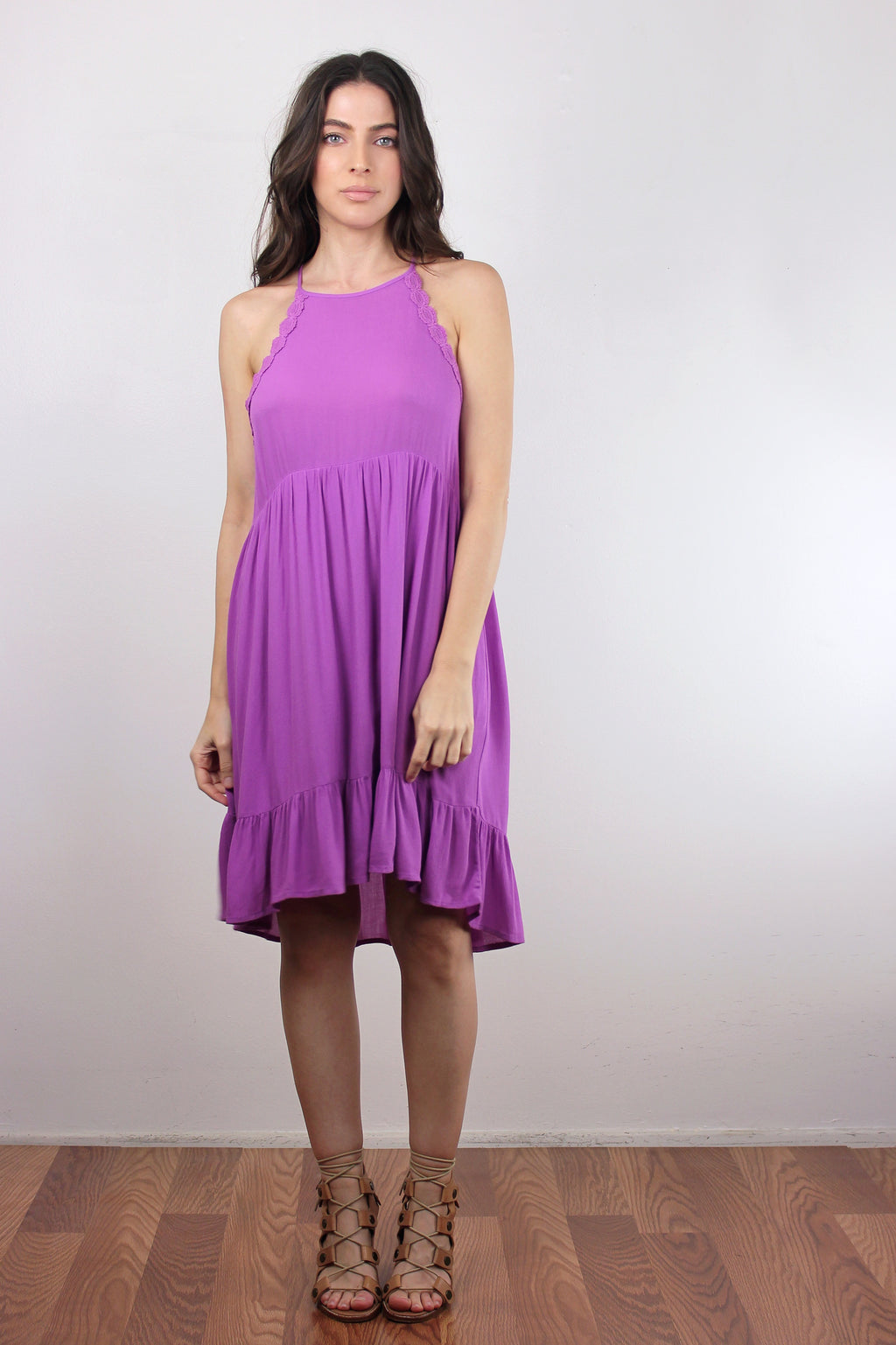 Ruffle hem sundress in Orchid. Image 4