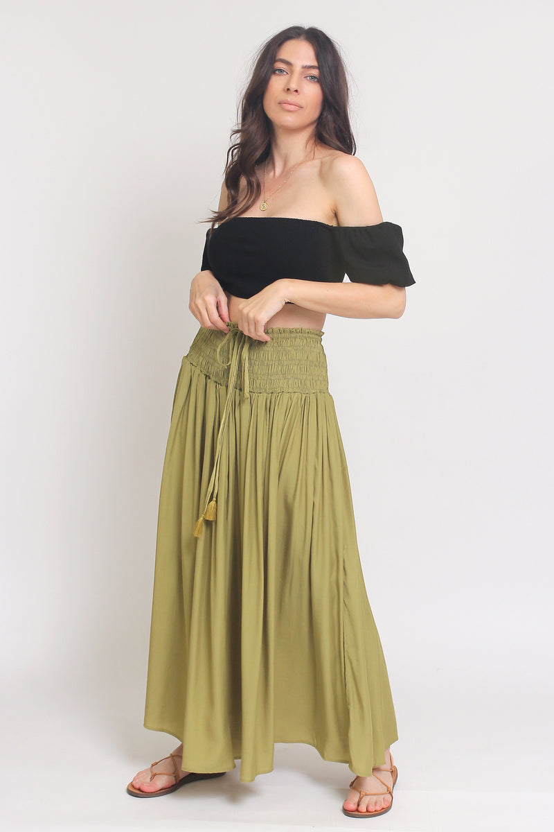 Smocked waist maxi skirt with drawstring tie, in Matcha. Image 3