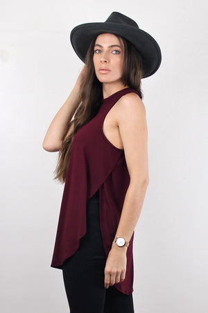 Tank top with high side slits, in Burgundy.  Image 3