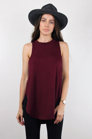 Tank top with high side slits, in Burgundy.  Image 4