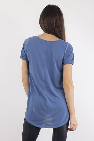 Tee shirt with overlapping slit sides, in Blue. Image 2