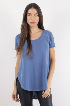 Tee shirt with overlapping slit sides, in Blue. Image 3