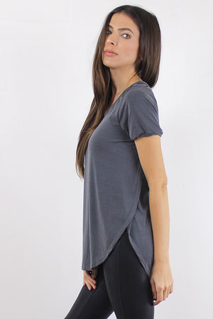 Tee shirt with overlapping slit sides, in Charcoal.