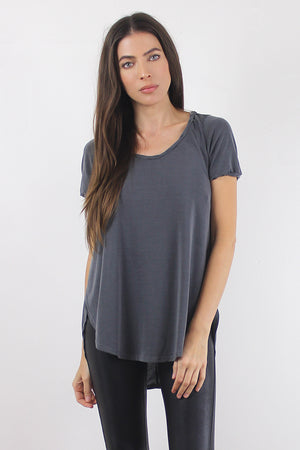 Tee shirt with overlapping slit sides, in Charcoal. Image 2
