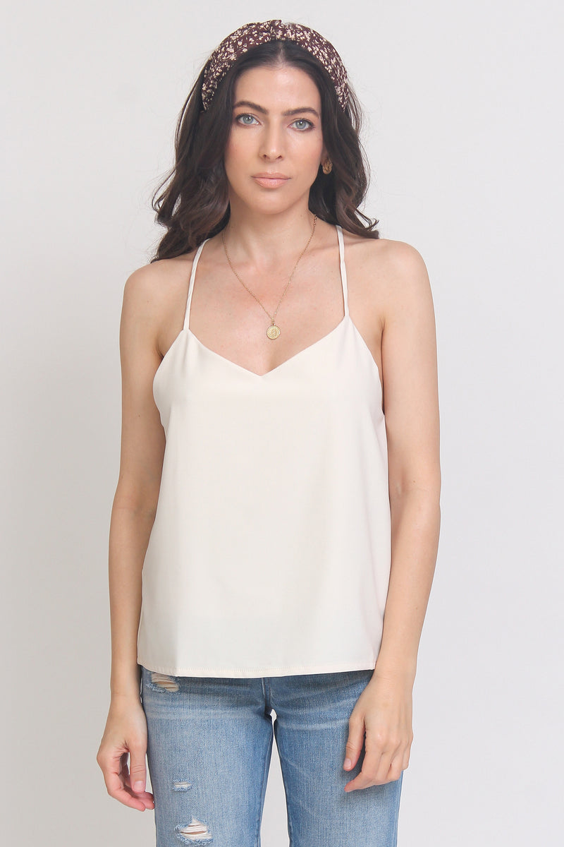 Camisole with criss cross straps, in Cream.