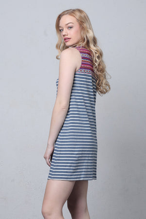 Striped shift dress with embroidered bib-3