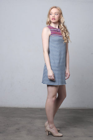Striped shift dress with embroidered bib-2