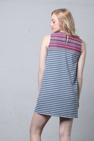 Striped shift dress with embroidered bib-1