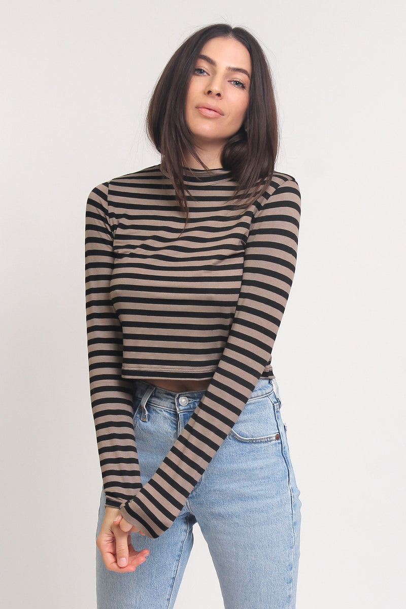 Mock neck cropped tee shirt, in Brown Stripe. Image 3