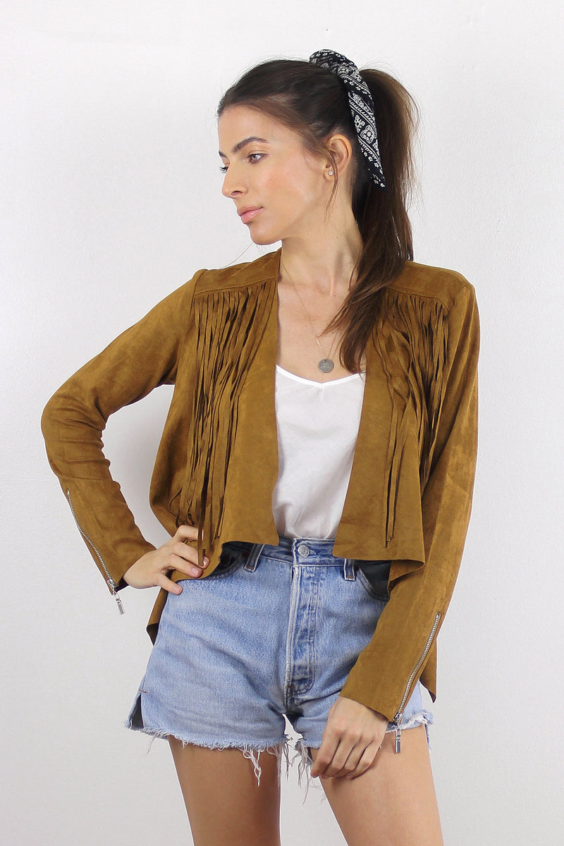 Faux suede jacket with cropped fit, and fringe detail, in Chestnut. Image 5