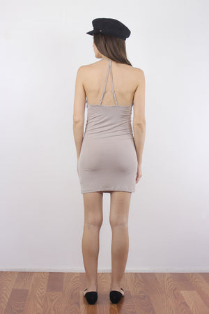 Taupe mini dress slip. 3