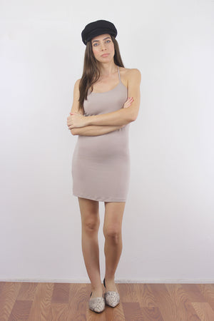 Taupe mini dress slip. 1