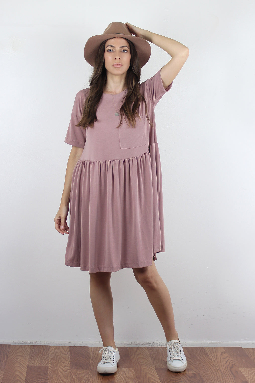 Babydoll style tee shirt dress with pocket in Pale Lilac.