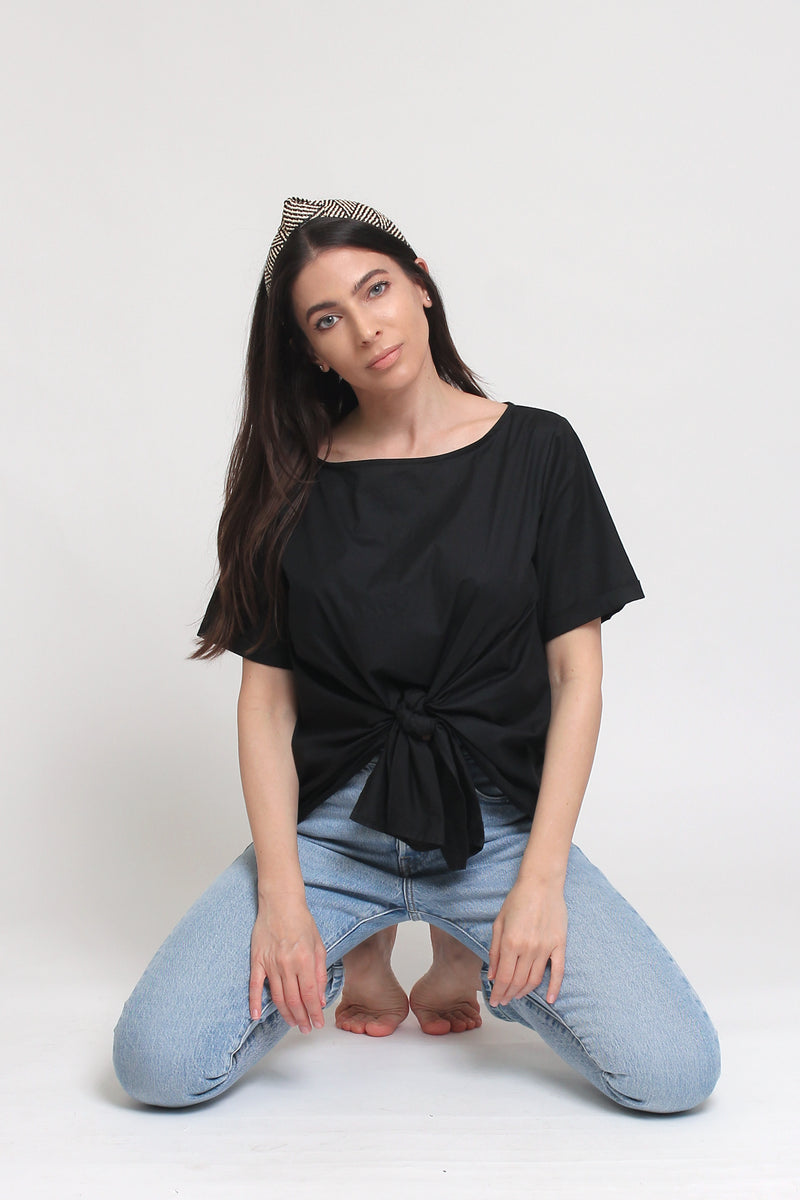 Tie front blouse with button up back, in Black. Image 10