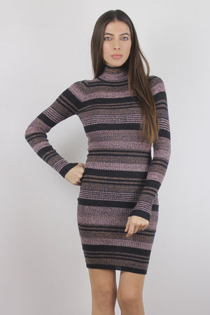 Mauve striped knit turtleneck dress.