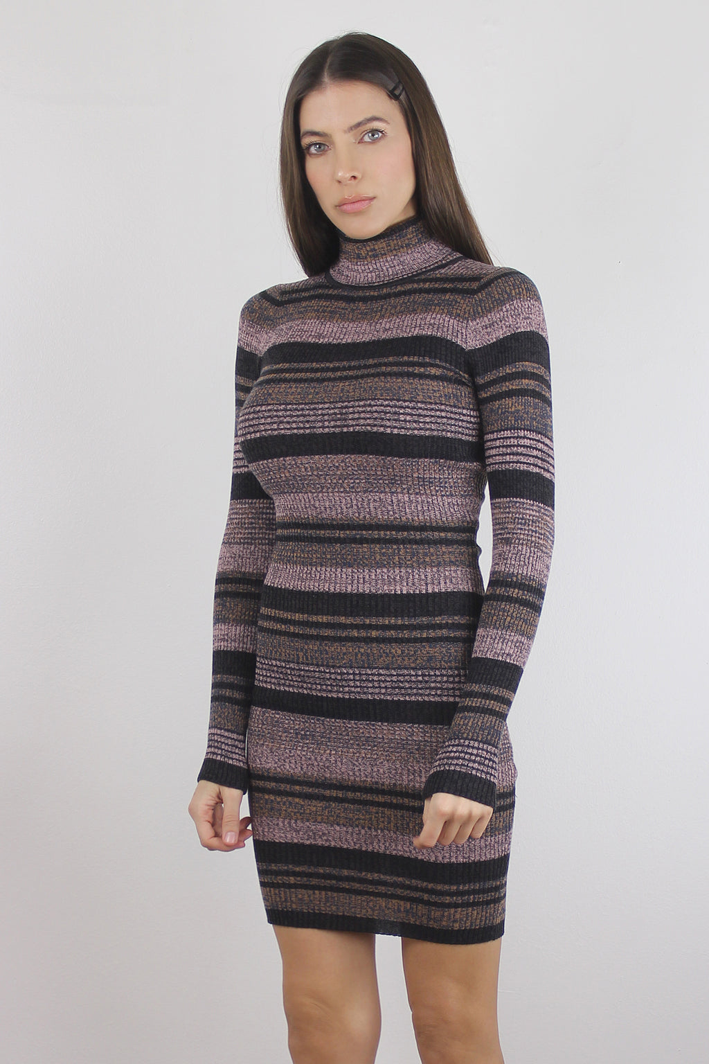 Mauve striped fitted knit turtleneck dress.