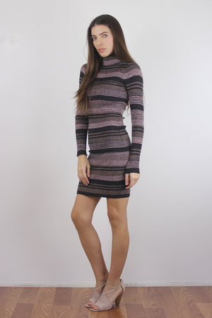 Mauve striped knit turtleneck dress, side.