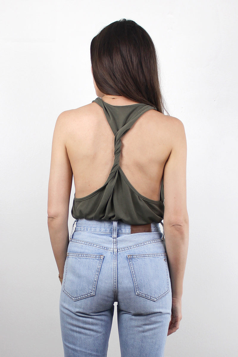 Twist back tank top in Olive.
