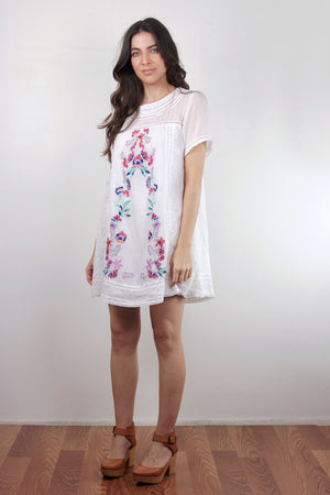 White embroidered mini dress. Image 5