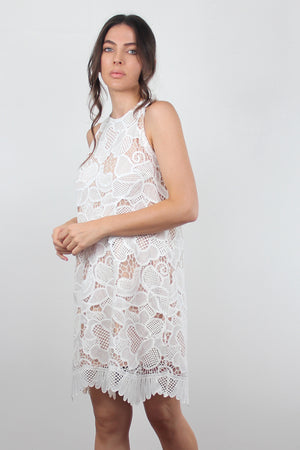 White lace dress with scalloped hem. Image 3