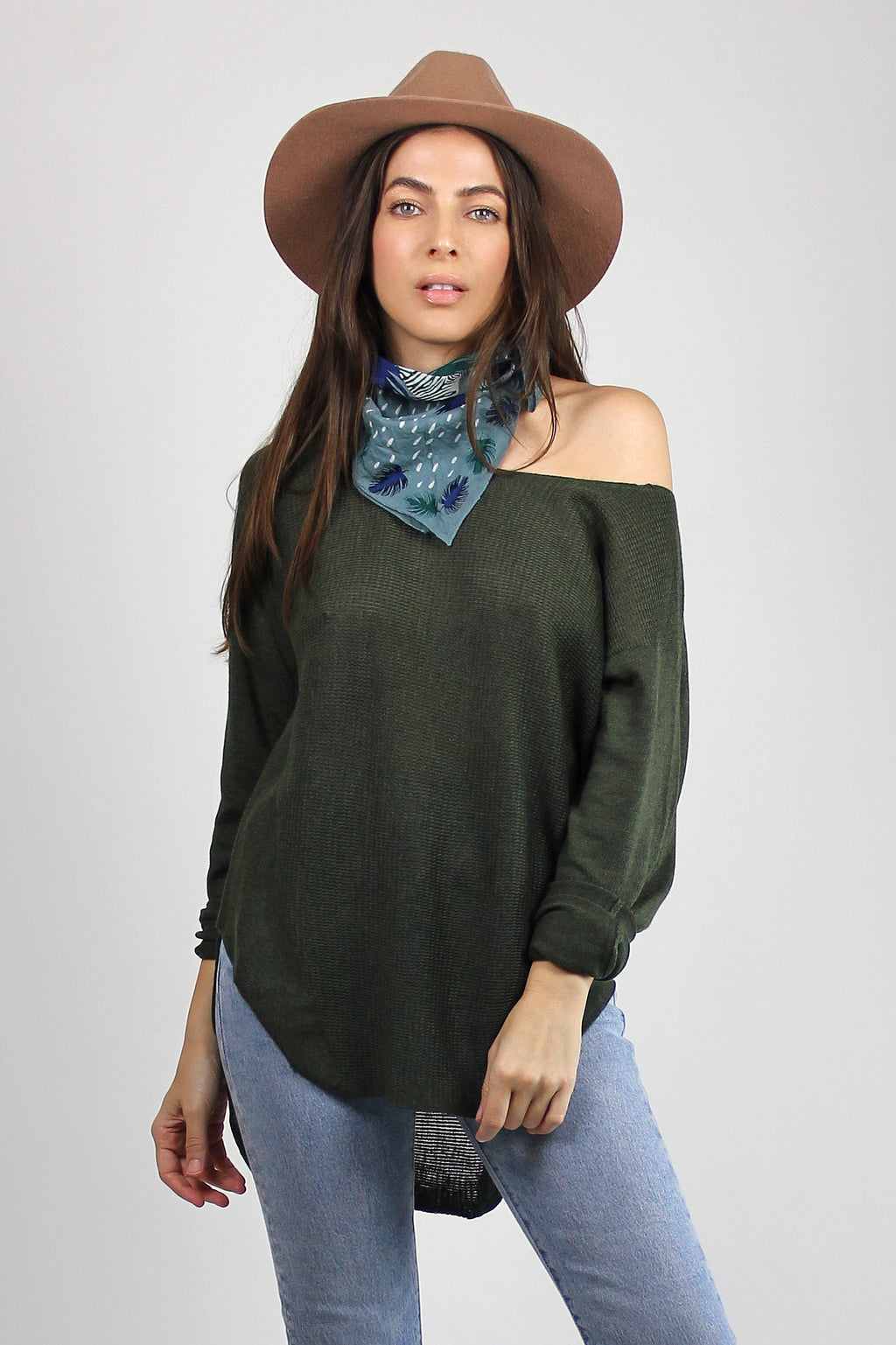 Wide neck sweater, in Olive. Image 2