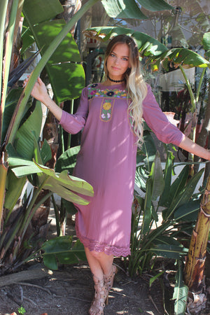 Mauve floral embroidered midi dress.
