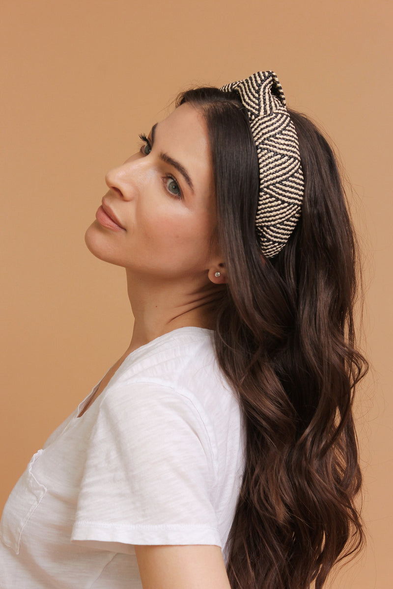 Woven straw headband with knot top, in Black Mix. Image 5