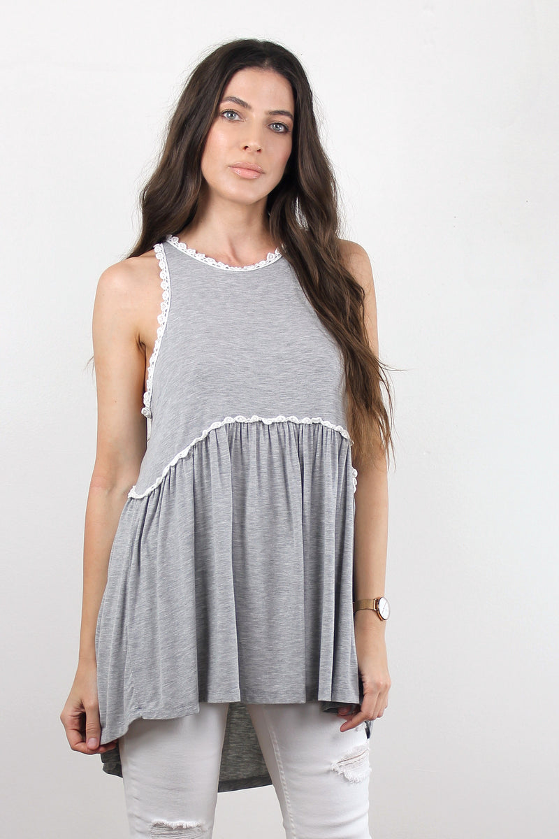 Babydoll style tank top with lace trim and zipper back in Grey. Image 2