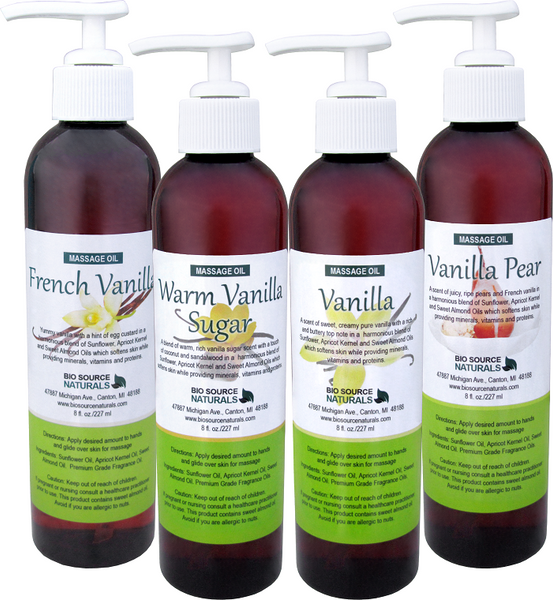 Vanilla Collection Massage Oils 8 fl oz (227 ml) (4 Pack)