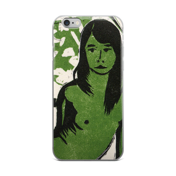 Girl In Green [Woodblock] - Art Series iPhone Case