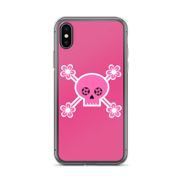 Pink Cherry Blossom Skull iPhone Case