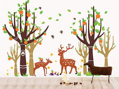 Tree Forest With Deer - 83in H -  Beautiful Tree Wall Decals for Kids Rooms Teen - PopDecors,Decals, Stickers & Vinyl Art, Pop Decors, PopDecors