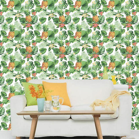Pineapple and Tropical Plants Wallpaper - Just Peel and Stick prt0103