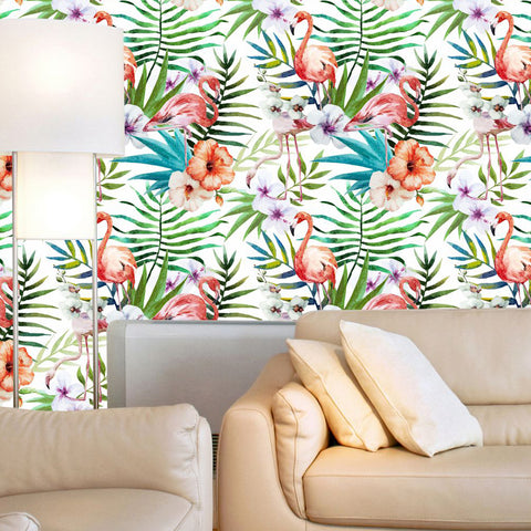 Flamingo and Tropical Flowers Wallpaper-Peel and Stick prt0107
