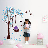 Funny cat plays swing-65inch H -  Beautiful Tree Wall Decals for Kids Rooms Teen