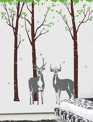Tree Forest with Deer - Free Squeegee and color change -  Tree Wall Decals Fores