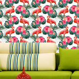 Flamingo and Hibiscus Flowers Wallpaper - self-adhesive prt0108