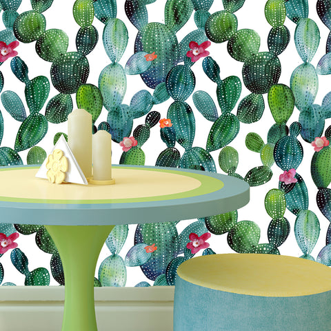 Cactus Nature Seamless Wallpaper-Peel and Stick prt0100 - PopDecors,, PopDecors, PopDecors