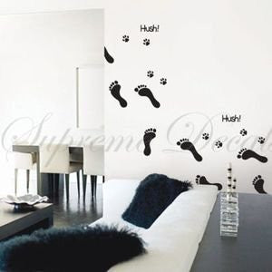 Custom Color PopDecals - Hush... Footprint - removable vinyl art wall decals home decor