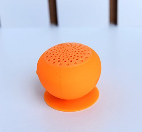 Portable Compact Bluetooth Speaker with Suction Pad- Orange Color - Reflying Electronic