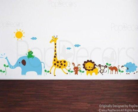 "PopDecors - Cute Animals in the Jungle-(175"" W) Custom Beautiful Tree Wall Decals for Kids Rooms Teen Girls Boys Wallpaper Murals Sticker Wall Stickers Nursery Decor Nursery Decals - PopDecors,Baby Product, Pop Decors, PopDecors"