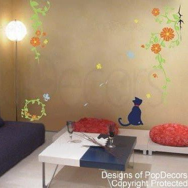 Cat and Vine Wall Decals