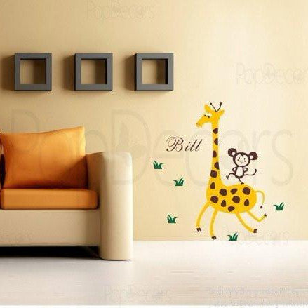 PopDecors - Giraffe, Monkey with Personalized Name - Custom Beautiful Tree Wall Decals for Kids Rooms Teen Girls Boys Wallpaper Murals Sticker Wall Stickers Nursery Decor Nursery Decals - PopDecors,Baby Product, Pop Decors, PopDecors