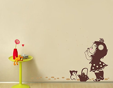 PopDecors - A Girl Blows Away Dandelions - Beautiful Tree Wall Decals for Kids Rooms Teen Girls Boys Wallpaper Murals Sticker Wall Stickers Nursery Decor Nursery Decals
