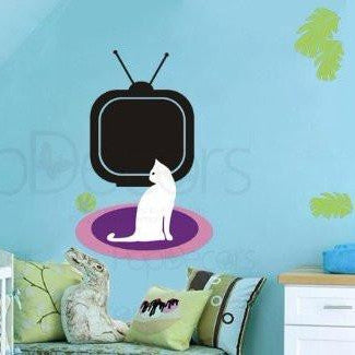 Chalkboard Decal-Kitty watches TV-Wall Decals - PopDecors,Baby Product, Pop Decors, PopDecors