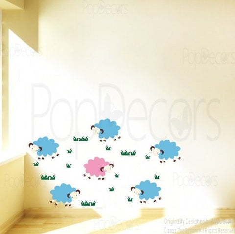 PopDecors - A Group of Sheep - Custom Beautiful Tree Wall Decals for Kids Rooms Teen Girls Boys Wallpaper Murals Sticker Wall Stickers Nursery Decor Nursery Decals