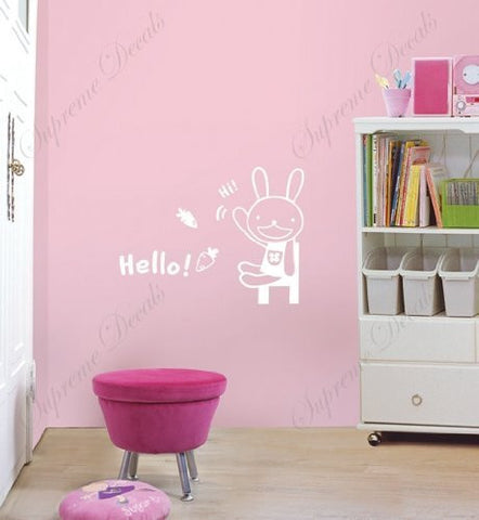 Custom PopDecals - Cute bunny - Beautiful Tree Wall Decals for Kids Rooms Teen Girls Boys Wallpaper Murals Sticker Wall Stickers Nursery Decor Nursery Decals - PopDecors,Home Improvement, PopDecals, PopDecors