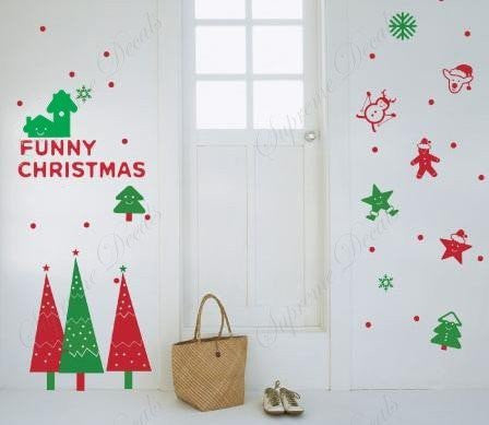 Custom PopDecals - Christmas Decals - Funny Christmas - Beautiful Tree Wall Decals for Kids Rooms Teen Girls Boys Wallpaper Murals Sticker Wall Stickers Nursery Decor Nursery Decals - PopDecors,Home, PopDecals, PopDecors