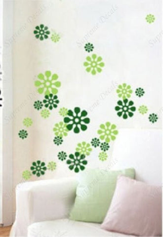 Custom PopDecals - Two green snow flake - Beautiful Tree Wall Decals for Kids Rooms Teen Girls Boys Wallpaper Murals Sticker Wall Stickers Nursery Decor Nursery Decals - PopDecors,Home, PopDecals, PopDecors